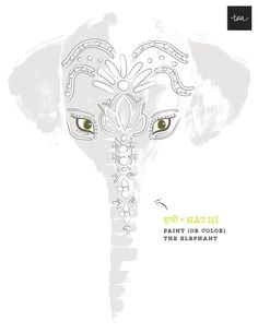 Free paint the elephant printable from Tea Collection