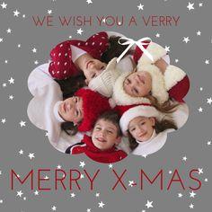 Kerstkaarten: Magisch foto wolk kader rood en grijs - voorkant