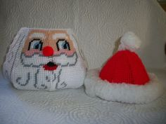 Hand Made Jolly Santa Plastic Canvas and Yarn Covered Basket Bowl with Hat Lid