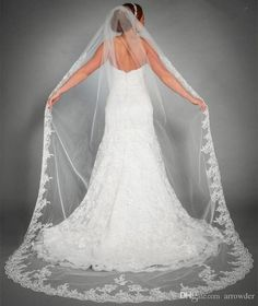Simple Tulle Cathedral Veil in White