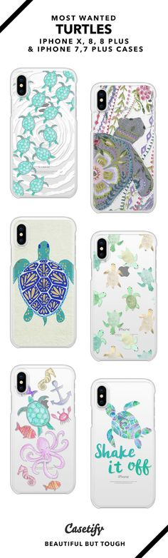 Most wanted turtles iPhone X, iPhone 8, iPhone 8 Plus, iPhone 7 and iPhone 7 Plus case. - Shop them here ☝️☝️☝️ BEAUTIFUL BUT TOUGH ✨ - Tortoise, ocean, shake it off, turtles lover, octopus