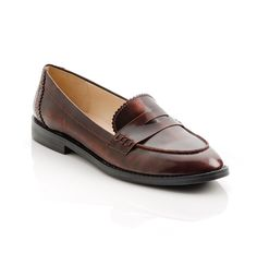Mona in Oxblood Distressed leather - Borrow your boyfriend's style with this sophisticated take on the penny loafer.