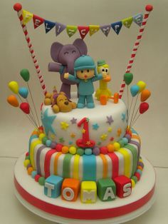 Awesome Pocoyo Cake - My kids would love this Baby Cakes, Pretty Cakes, Cute Cakes, Fondant Cakes, Cupcake Cakes, Boys First Birthday Cake, Cake Birthday, Cake Models, Circus Cakes