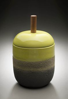 Ettore Sottsass, Covered Jar, 1959. Partially glazed earthenware, cotton. Made by Bitossi & Figli for Il Sestante, Milan. Montreal Museum of Fine Arts.