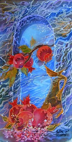 Гранаты у окна из серий Шелковый ветер, Натюрморт автор: Julia Zisman  Горячий батик,