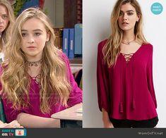 Maya's pink peasant blouse on Girl Meets World. Outfit Details: http://wornontv.net/52942/ #GirlMeetsWorld