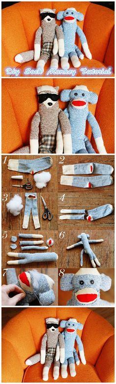 New Ideas toys kids diy sock monkeys Sock Crafts, Sewing Crafts, Diy For Kids, Gifts For Kids, Sock Monkeys, Sock Animals, Upcycled Crafts, Soft Dolls, Cute Crochet