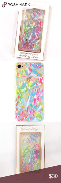 Lilly Pulitzer Sparkling Sands IPhone 7 Case Dress up your most important accessory with this lovely phone case from Lilly Pulitzer in the Sparkling Sands pattern! Transparent foil printed plastic cover for iPhone 7 (classic size NOT plus size), and is compatible with regular iPhone 8. This colorful Lilly iPhone case is brand new in box and never used. Please feel free to ask questions. No trades or modeling requests please. Lilly Pulitzer Accessories Phone Cases