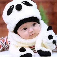 Cute Cartoon Panda Baby Boy Girl Hats Winter Children Wool Cap Kids Baby Hat and Scarf