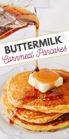 These easy cornmeal pancakes made with buttermilk and cooked in bacon grease are a unique spin on your traditional pancake recipe. Johnny Cakes are a delicious way to enjoy the great flavors of cornbread or breakfast! #CornmealPancakes #JohnnyCakes #Pancakes Waffle Recipes, Brunch Recipes, Snack Recipes, Brunch Dishes, Top Recipes, Breakfast Dishes, Yummy Recipes, Dinner Recipes, Snacks