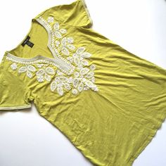 """Style & Co embroidered beaded tunic citron green Item: Style & Co embroidered beaded tunic in a citron green color. Last pic is stock of same tunic just different color  Size: M fits L also . Measurements: bust 21""""across length 32"""" Style & Co Tops Tunics"""