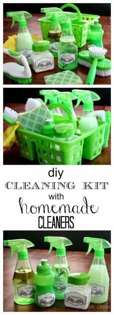 DIY Cleaning Kit with Homemade Cleaners.  Great idea to make your house and kitchen clean and green.