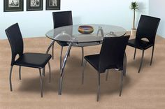 5afcb823373 Corfu 4 seater Glass dining set Oval Glass Dining Table