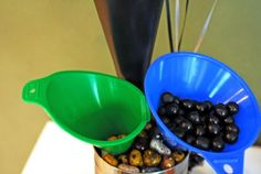 Car Theme Birthday Party ~ use new oil funnels to hold candy