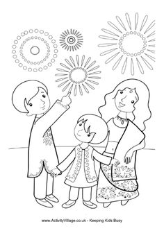 The children are enjoying some fireworks in this fun Diwali colouring card. How about adding a touch of glitter to the finished card for some extra sparkle? Diwali Painting, Diwali Drawing, Diwali Festival Drawing, Celebration Around The World, Diwali Celebration, Hindu Festivals, Indian Festivals, Diwali For Kids, Diwali Fireworks