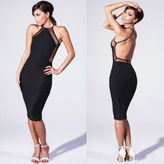 New Sassy & Classy Bodycon Midi Dress M The perfect LBD!! Midi length, very comfortable, open back with criss-cross straps. Nice fabric & good quality...: thicker- not thin & cheap!!  I have 1 left Dresses Midi