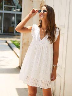V-neck Eyelet Embroidery Ruffle Dress trendy fashion back to school white dress Smock Dress, Ruffle Dress, Ruffle Sleeve, Ruffle Trim, Lace Trim, Robes Midi, Casual Summer Dresses, Dress Casual, Dress Summer
