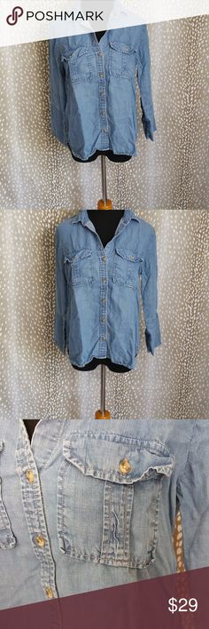WOMEN'S ANTHROPOLOGIE DENIM CHAMBRAY SHIRT SIZE S Style: Women's Denim Chambray Shirt (T 03 - 596) Brand: Cloth & Stone  Material: 100% Tencel  Measurements: Length 26 Pit To Pit 19 Color: Denim  Size: Small Condition: Great Anthropologie Tops Button Down Shirts