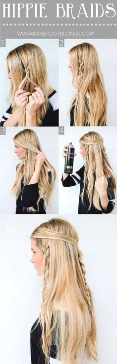 20 Best Braid for Long Hair – PoPular Haircuts Cute, Easy Braided Hairstyle Tutorial for Long Hair: Hippie Braids http://www.tophaircuts.us/2017/06/13/20-best-braid-for-long-hair-popular-haircuts/
