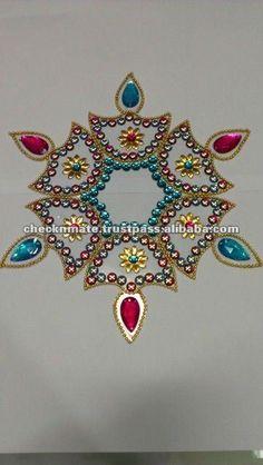 Rangoli Kundan Diwali Acrylic Diya Indian Kolam Navratri