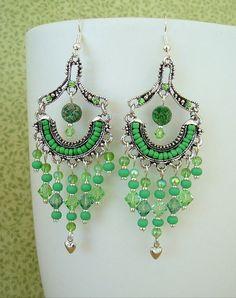 Boho Earrings Chandelier Earrings Green Earrings by BohoStyleMe