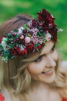 Burgundy flower crown with Tieback closure in Shades of burgundy with pink accents. Headband is suitable for adult lady. This Flower Crown is perfect for wedding, photo shoots or everyday fancy. This flower crown will make your day more special than others! One size fits all adult heads! The wreath Floral Wedding Hair, Flower Headpiece, Flower Crown Wedding, Wedding Hair Flowers, Wedding Hair Pieces, Floral Hair, Burgundy Wedding, Bridal Flowers, Flowers In Hair