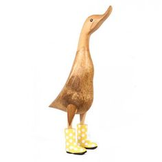 This cute natural finish large wooden duck stands approximately high with yellow and white spotted welly boots. Welly Boots, Duck Ornaments, Ducks, Special Gifts, Hand Carved, House Ideas, Carving, Living Room, Yellow