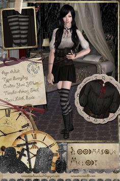 Download I love skirts!!! So this is a combination of Yuxi's Bloodmasque outfit and YanderePlum's witchy outfit. With Black and White versions. Two types of tights (shorter and longer).