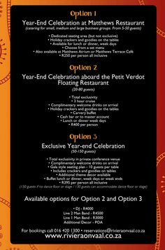 #Year-end function options at the #Rivieraonvaal Hotel and Country Club http://www.rivieraonvaal.co.za/hotel-promotions/make-your-year-end-function-something-remember/#