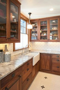 Another great example of a white subway tile kitchen splash.