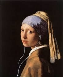 I love this so much.... This is actually a painting by Johannes Vermeer that someone added earbuds to.