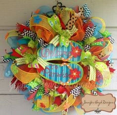 Flip Flop Welcome to Paradise Deco Mesh Wreath , Perfect for Summer, Pool House or Beach House, packed with ribbons via Etsy