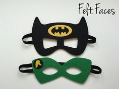 One set of 2 Batman and Robin party masks, one of each style shown in the photo. Each mask is made with premium felt, and has a black elastic band sewn to each side of the back. These adorable party m