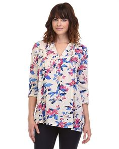 Floral Pintuck Pleated Top