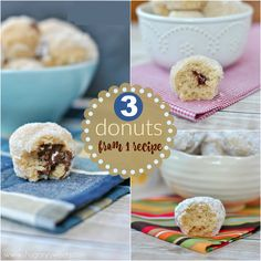 3 Donuts from ONE recipe: bake these delicious donut holes and get three fun flavors: nutella stuffed, jelly filled and powdered sugar!