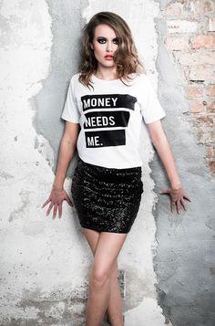 Koszulka, tshirt MONEY NEEDS ME #behyped - behyped - Koszulki z nadrukiem