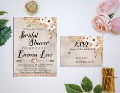 Printable Bridal Shower Invitation  RSVP by HappyLifePrintables