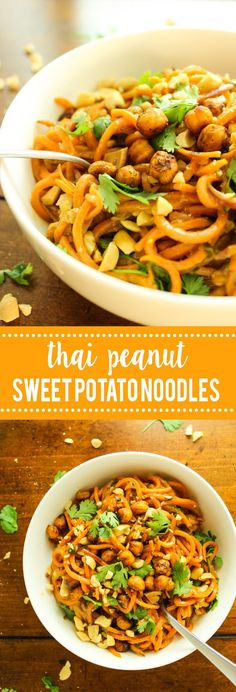 Hubby said this was one of the best things he's ever eaten! THAI PEANUT SWEET POTATO NOODLES –– just spiralized sweet potatoes with a simple sauce!