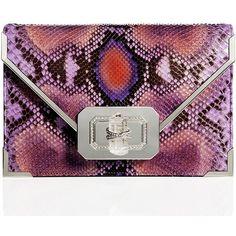 Marchesa Valentina Python Envelope Clutch Bag, Purple