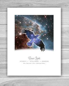Cosmic Crow Spirit Animal Print ~ Art Print ~ Animal Totem ~ Nebula ~ Galaxy ~ Astronomy ~ Space ~ Home Decor ~ 8 x 10 or 11 x 14