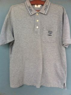 39b8aa36d Details about Mcm Legere Embroidery Logo Single Pocket Polo Shirt Grey  Color Large Size