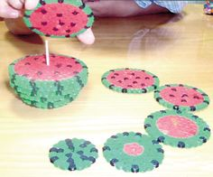 Watermelon hama beads, perler beads, coasters, Sandía posavasos