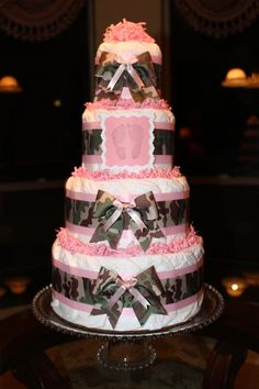 Four Tier Camouflage Camo & Pink Diaper Cake by EricasChicBoutique BOUGHT