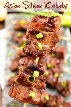 Asian Steak Kebabs Tender Juicy Steak Bites in a Delicious Asian Marinade! The Perfect Quick & Easy Recipe to Fire Up the Grill With! Barbecue Recipes, Grilling Recipes, Beef Recipes, Cooking Recipes, Recipies, Asian Recipes, Asian Foods, Healthy Recipes, Oriental Recipes