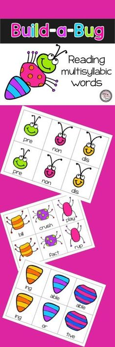 This fun resource will remind you of playing Cootie as a child (remember that game?!) Students will work to build a bug with three cards and read the multisyllabic words. Most have easily identified and common prefixes and suffixes. Use the dreaded flyswatter as a fun option to the game. Students love this!