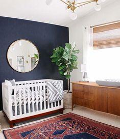 Dark blue nursery wall