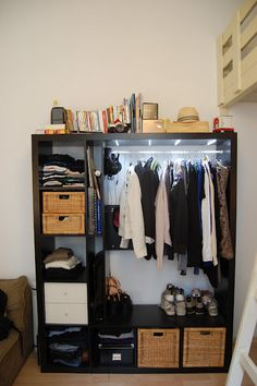 EXPEDITion Small-Room-Closet - IKEA Hackers - Materials: EXPEDIT tv storage unit, DIODER light strip set, clothes rail and supportDescription: Yes. I have to admit. I love having lots of space too, Closet Ikea, Closet Hacks, Room Closet, Closet Space, Bedroom Hacks, Ikea Bedroom, Ikea Dorm, Ikea Hackers, Exposed Closet