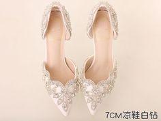 Women Ivory White Swarovski Wedding Sandal Shoe,Bridal Low Heel Shoes US 6,7,8
