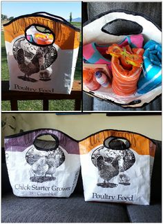 Beach/Pool Bag. Upcycled feed bag by ThistleDewFarm on Etsy