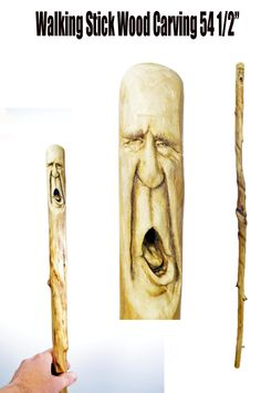 Walking Stick Wood Carving, Walking Cane Wood Gift Sculpture For Him, Hand Carved Wood Spirit Stick by Josh Carte, Unique Wood Gift, Artist - pinned by pin4etsy.com